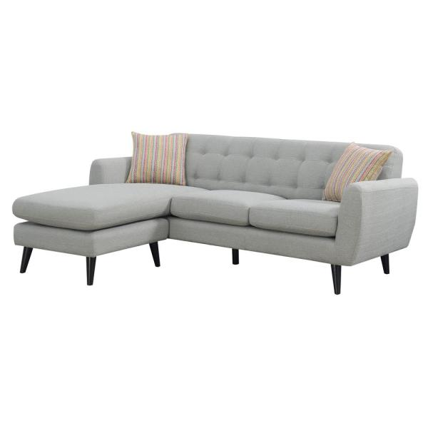 AC Pacific Havana Collection Gray Modern Mid Century Polyester Upholstered  Stationary Living Room Sectional With Reversible