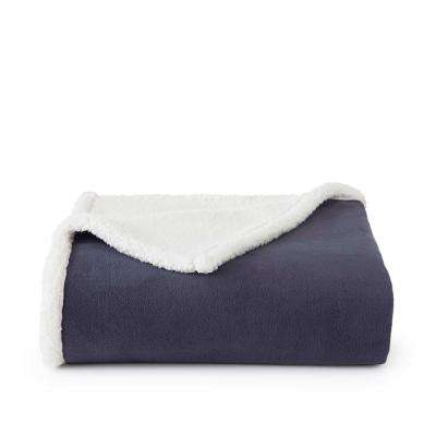 Reversible Fleece Sherpa Ombre Blue Polyester Throw