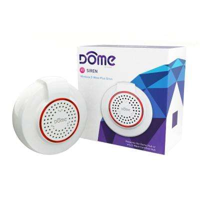 Dome Wireless Door Alarm Z-Wave Plus Battery Powered Siren with Adjustable Volume Level and Ten Selectable Tones