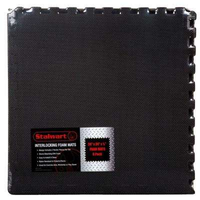 Black 24 in. x 24 in. x 0.5 in. Interlocking EVA Foam Floor Mat (6-Pack)