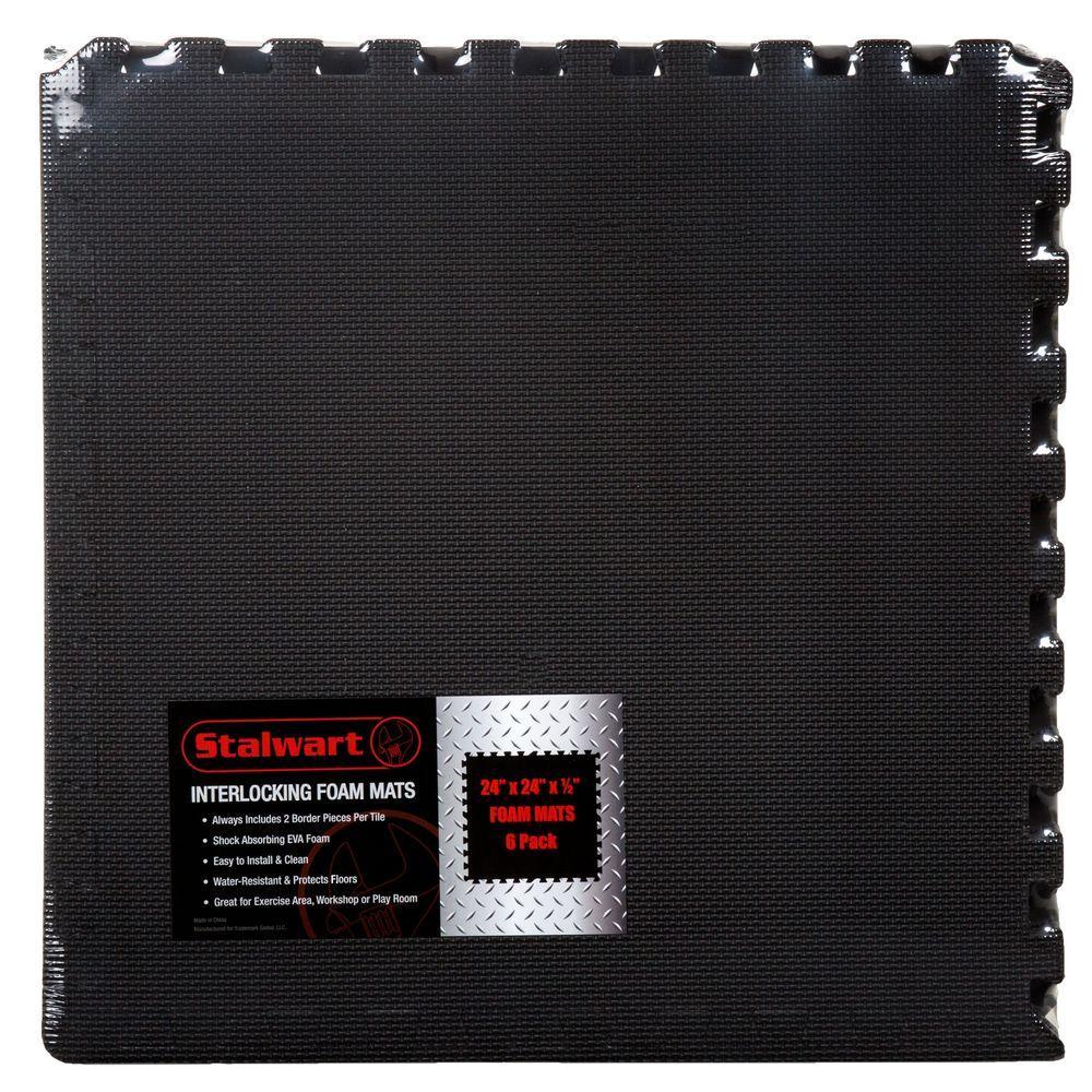 Black 24 in. x 24 in. x 0.5 in. Interlocking EVA Foam Floor Mat (6-Pack)