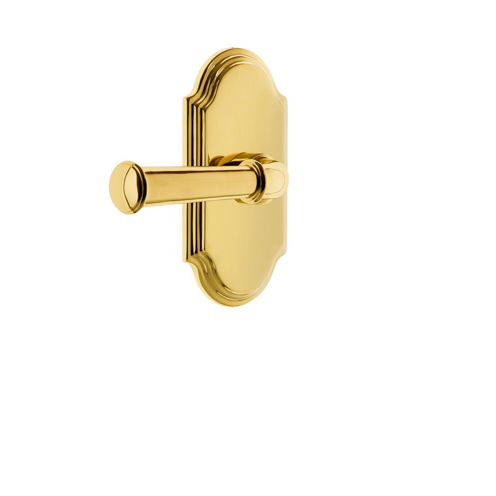 Arc Plate Double Dummy with Georgetown Door Lever in Polished Brass