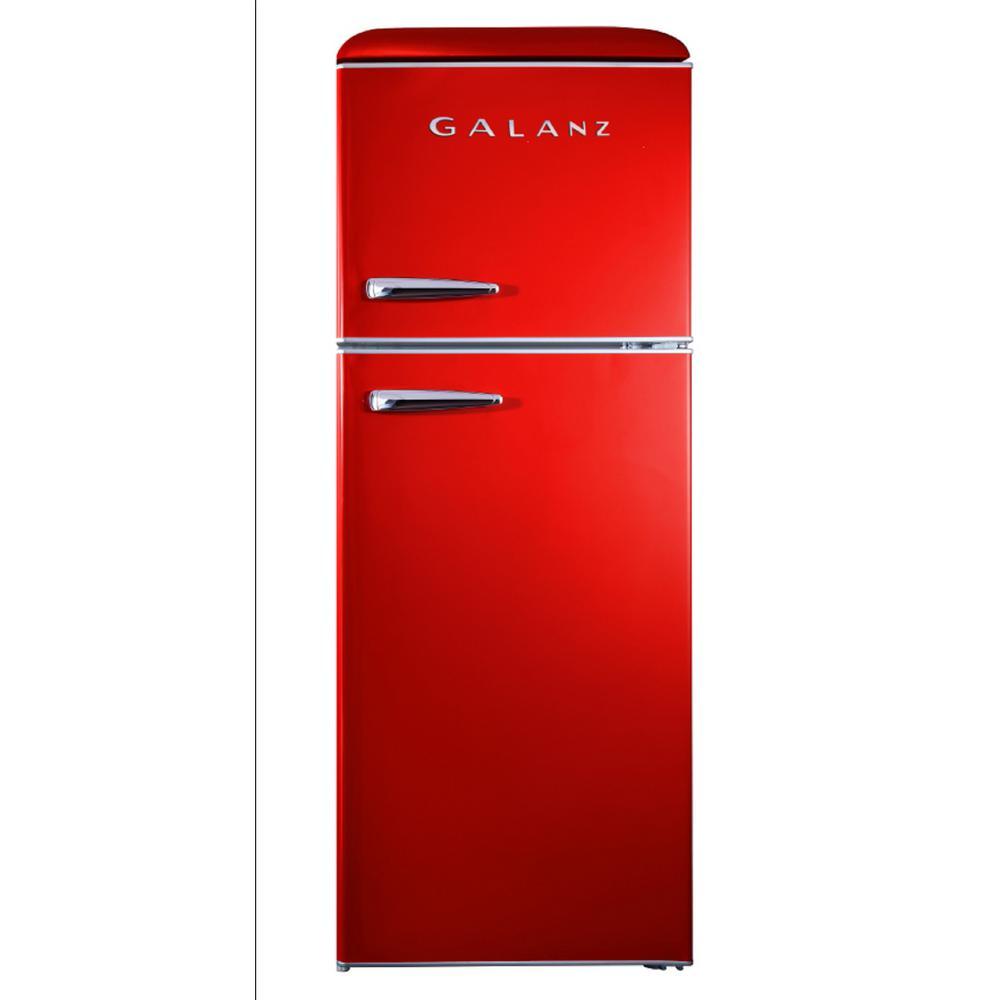 Galanz 10.0 cu. ft. Retro Top Freezer Refrigerator with Dual Door True Freezer, Frost Free in Red