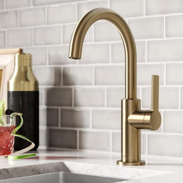 Oletto Single-Handle Kitchen Bar Faucet in Spot Free Antique Champagne Bronze