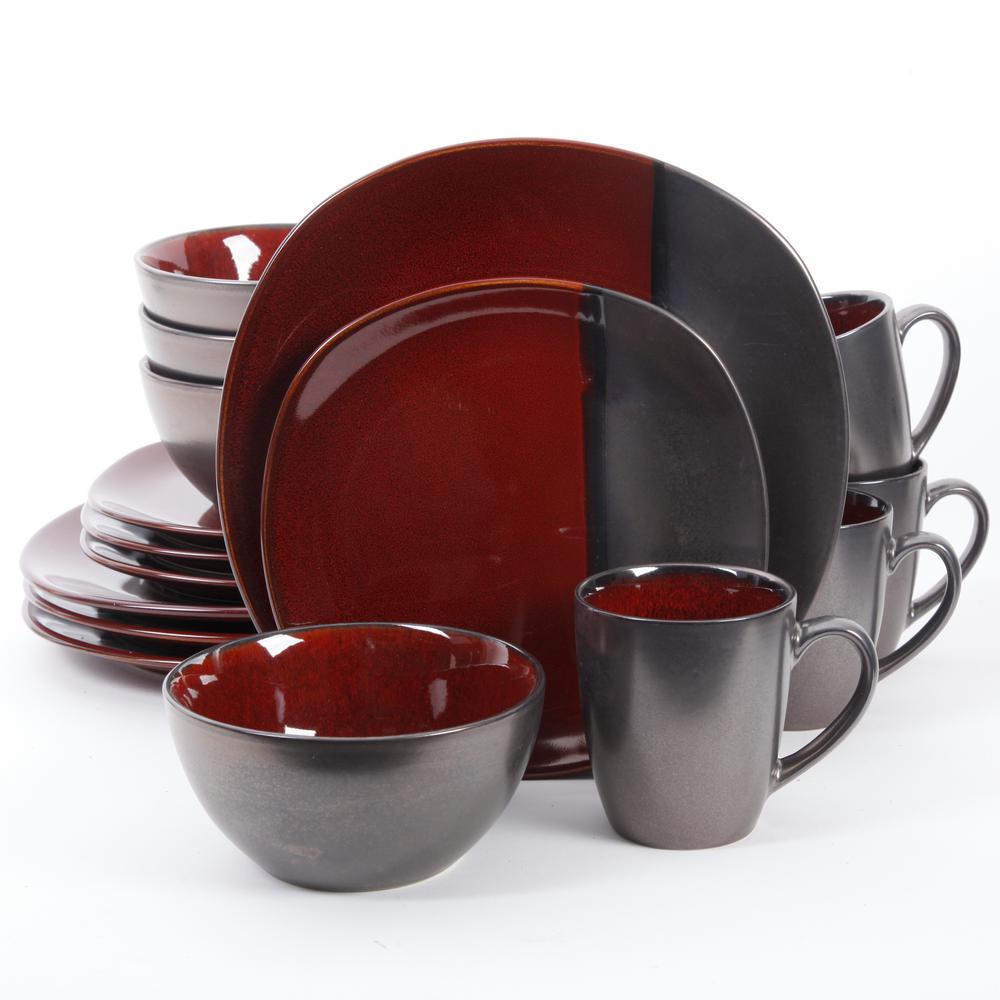 Volterra 16-Piece Red Reactive Glaze Dinnerware Set