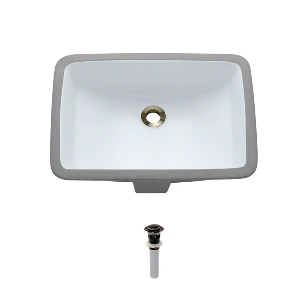 Undermount Porcelain Bathroom Sink in White with Pop-Up Drain in Antique Bronze
