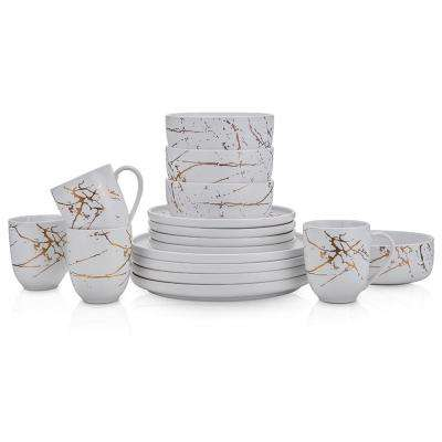 16-Piece Casual Gold and White Porcelain Dinnerware Set (Set for 4)