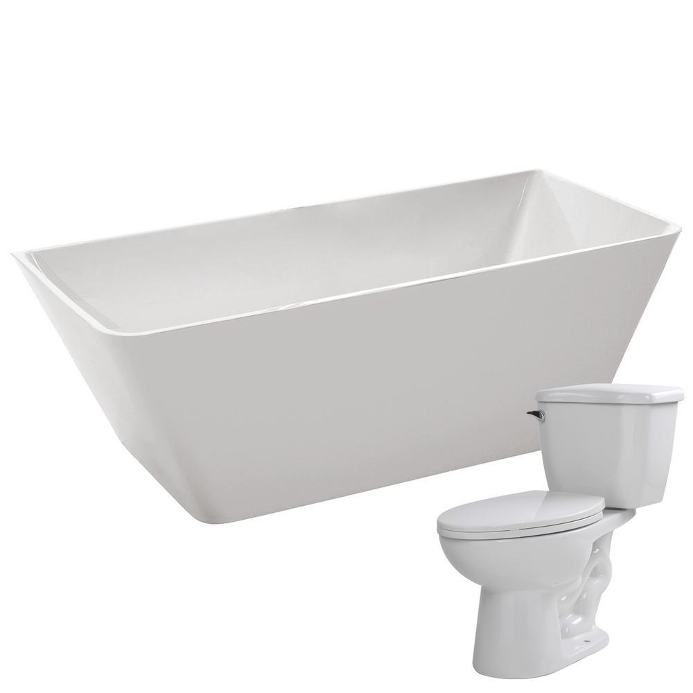 ANZZI Zenith 67 in. Acrylic Flatbottom Non-Whirlpool Bathtub with ...
