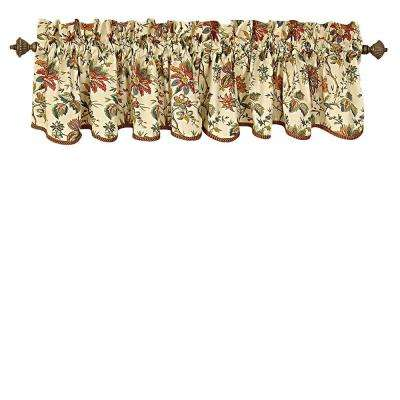 Felicite 50 in. W x 15 in. L Cotton Window Valance in Crme