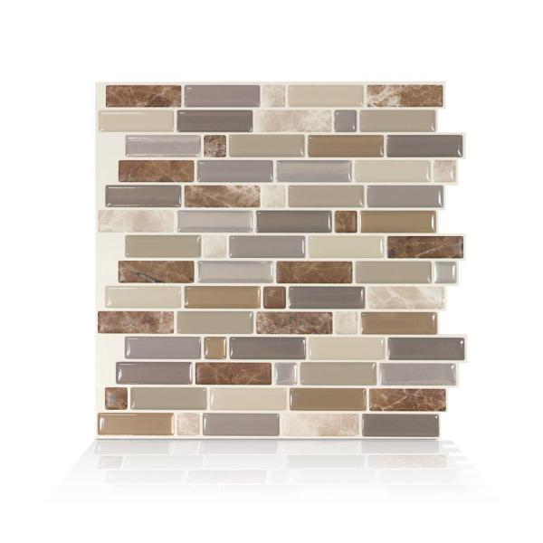 Crescendo Terra 9.73 in. W x 9.36 in. H Brown and Beige Peel and Stick Decorative Mosaic Wall Tile Backsplash (4-Pack)