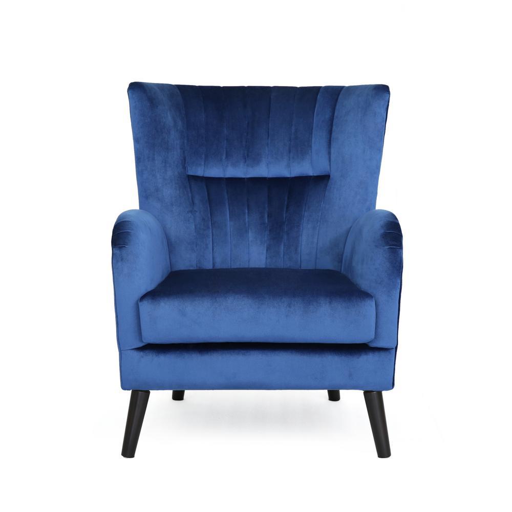 Woodrow Modern Glam Navy Blue Velvet Club Chair