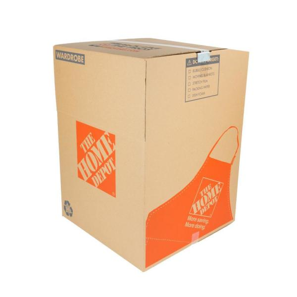 The Home Depot Wardrobe Moving Box With Metal Hanging Bar And Handles (24 In. L X 24 In. W X 34 In. D)-1001007 - The Home Depot