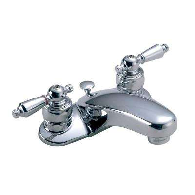 Symmetrix 4 in. Centerset 2-Handle Bathroom Faucet with Metal Drain Assembly in Chrome
