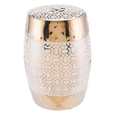 Laberint Gold and White Stone Outdoor Side Table