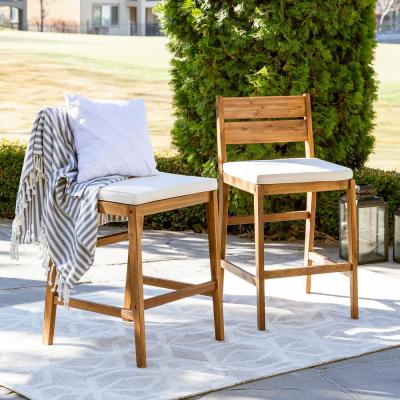 Brown Acacia Wood Patio Outdoor Bar Stools with White Cushions (2-Pack)