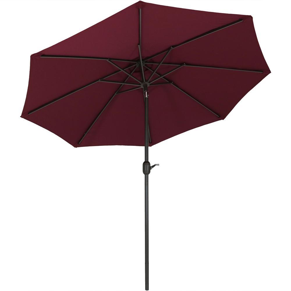 9 ft. Fade Resistant Aluminum Market Auto Tilt Patio Umbrella in Burgundy