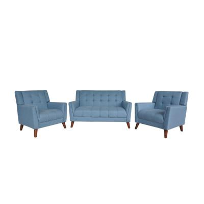 Candace Mid-Century Modern Tufted Blue Fabric Armchair and Loveseat Set