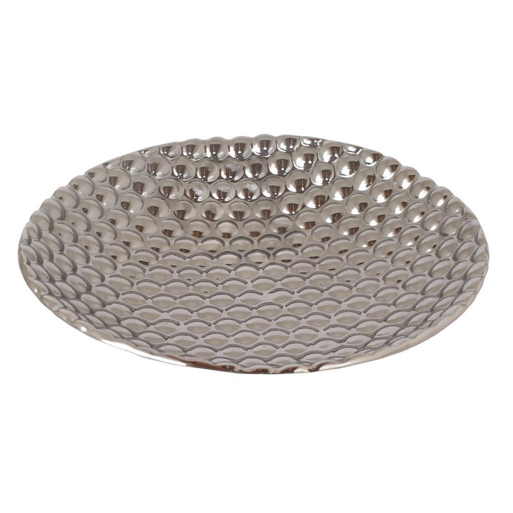 13.75 in. x 13.75 in. Silver Ceramic Plate