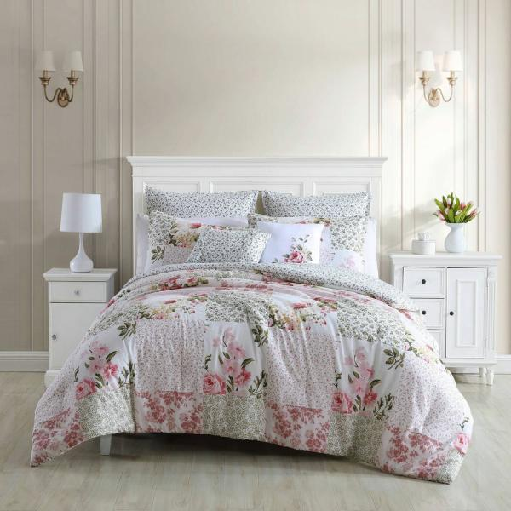 Ailyn 7-Piece Red Cotton King Comforter Set Bonus