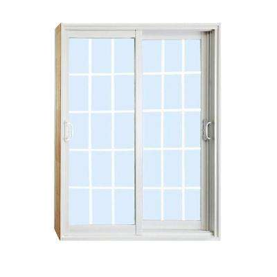 72 in. x 80 in. Double Sliding Patio Door with 15 Lite Internal White Flat Grill