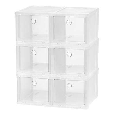 6-Pair Clear High Pull Down Front Access Shoe Box Plastic Shoe Organizer
