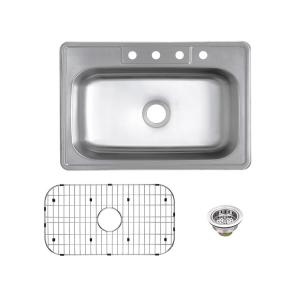 Glacier Bay Drop In 20 Gauge Stainless Steel 33 In 4 Hole Single Bowl Kitchen Sink With Grid