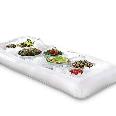 Inflatable Ice Serving Buffet Bar with Drain Plug - Salad Food and Drinks Tray for Party Picnic and Camping