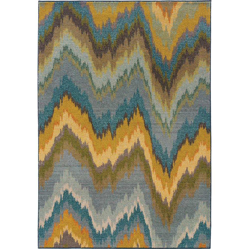 Melody Chevron Waves Yellow Blue 9 Ft