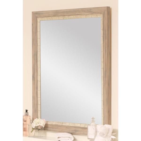 Large Rectangle Cream/Gray Hooks Casual Mirror (55 in. H x 32 in. W)