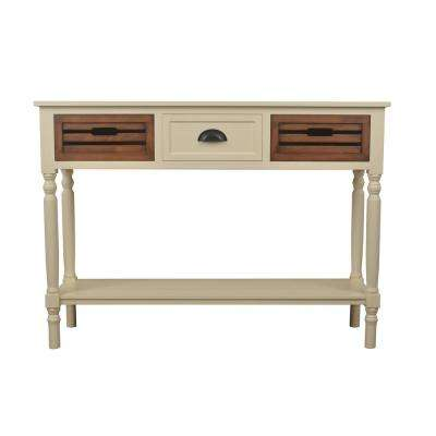 Melody White and Honey Oak 3-Drawer Console Table