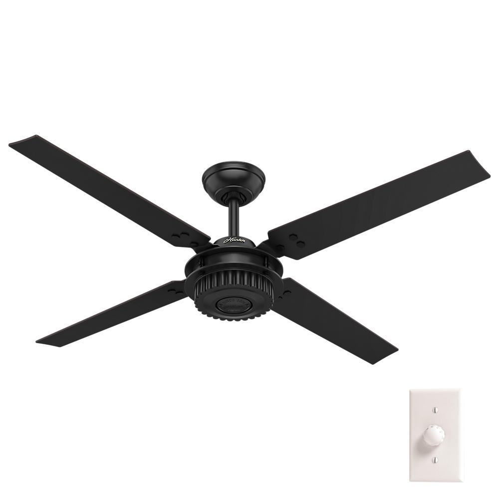 Hunter 72 Industrial Matte White Damp Rated Ceiling Fan: Hunter Key Biscayne 54 In. Indoor/Outdoor Onyx Bengal