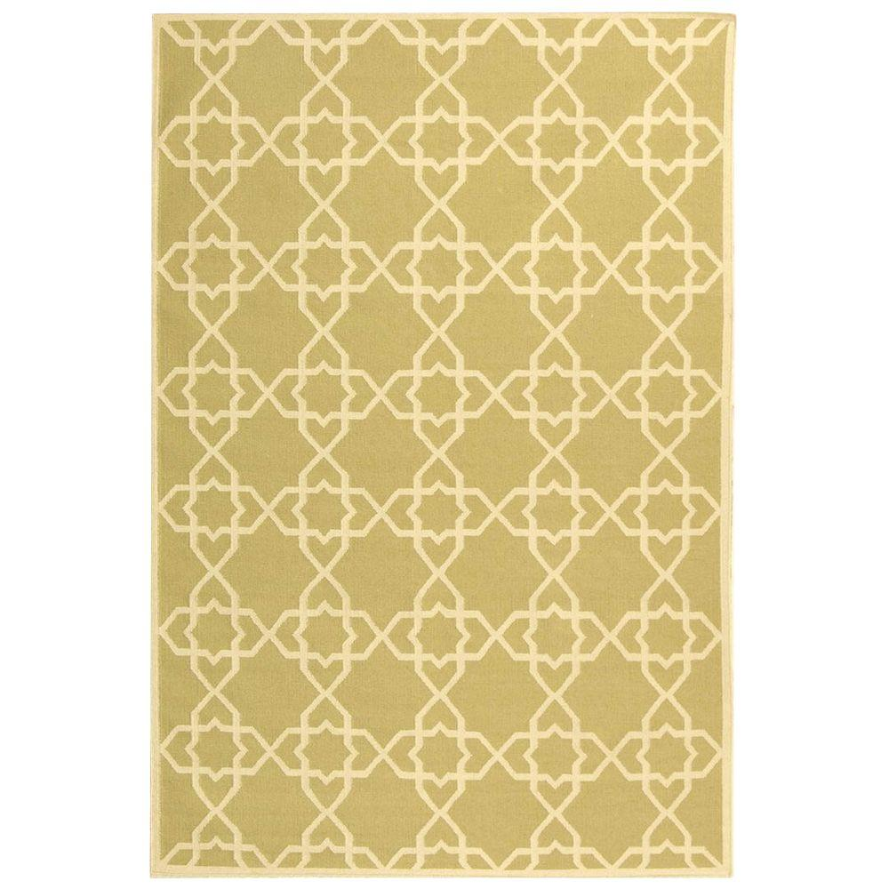 Safavieh Dhurries Olive/Ivory 9 ft. x 12 ft. Area Rug