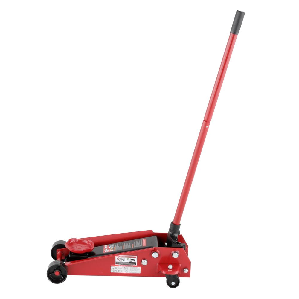 Stable Powerful Torin 3-ton Professional-Grade Low-Profile Floor Jack Features Dual Pump Piston Rapid Lift Floor Jack High Grade Steel Frame with Nylon Wheels.