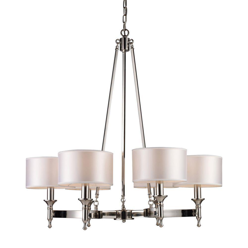 Titan Lighting Pembroke 6-Light Polished Nickel Ceiling Mount Chandelier