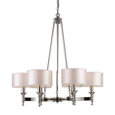 Pembroke 6-Light Polished Nickel Ceiling Mount Chandelier
