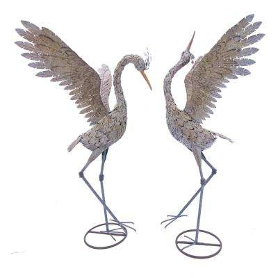 Large Iron Dancing Cranes (2-Set)