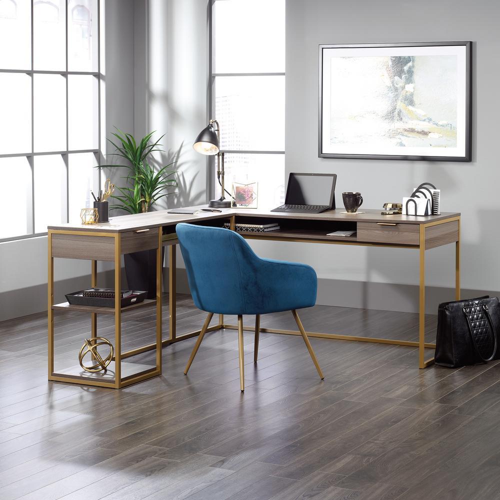 International Lux Diamond Ash L-Shaped Desk