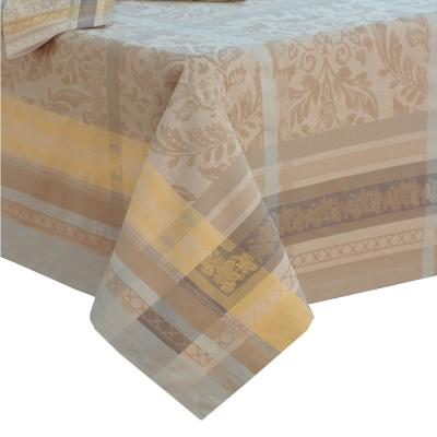 Promenade 63 in. W x 126 in. L in Gray/Gold Jacquard Fabric Tablecloth