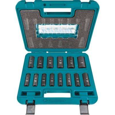 3/8 in. 6-Point Fractional Deep Impact Socket Set (14-Piece)