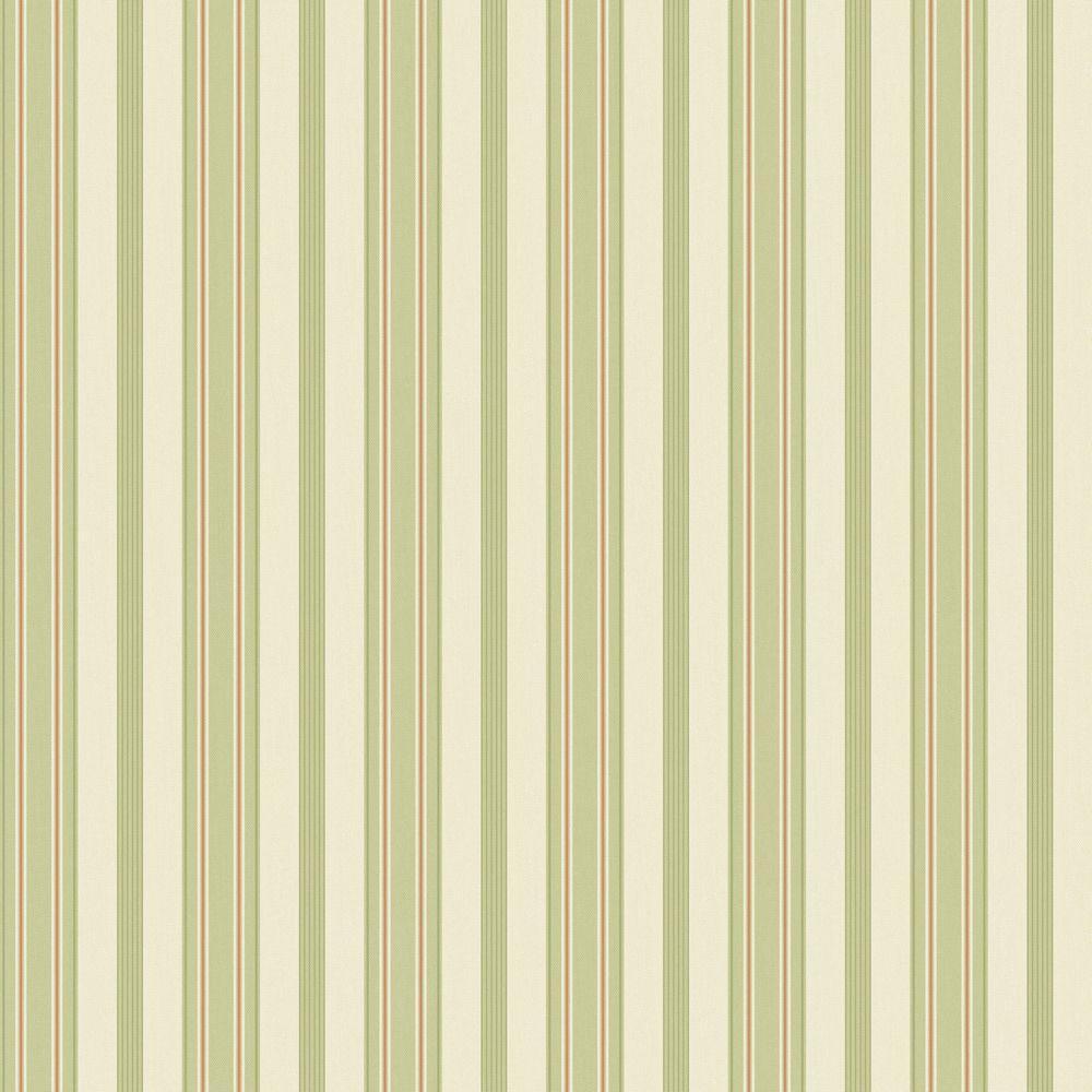 The Wallpaper Company 56 sq. ft. Green Pastel Stripe Wallpaper