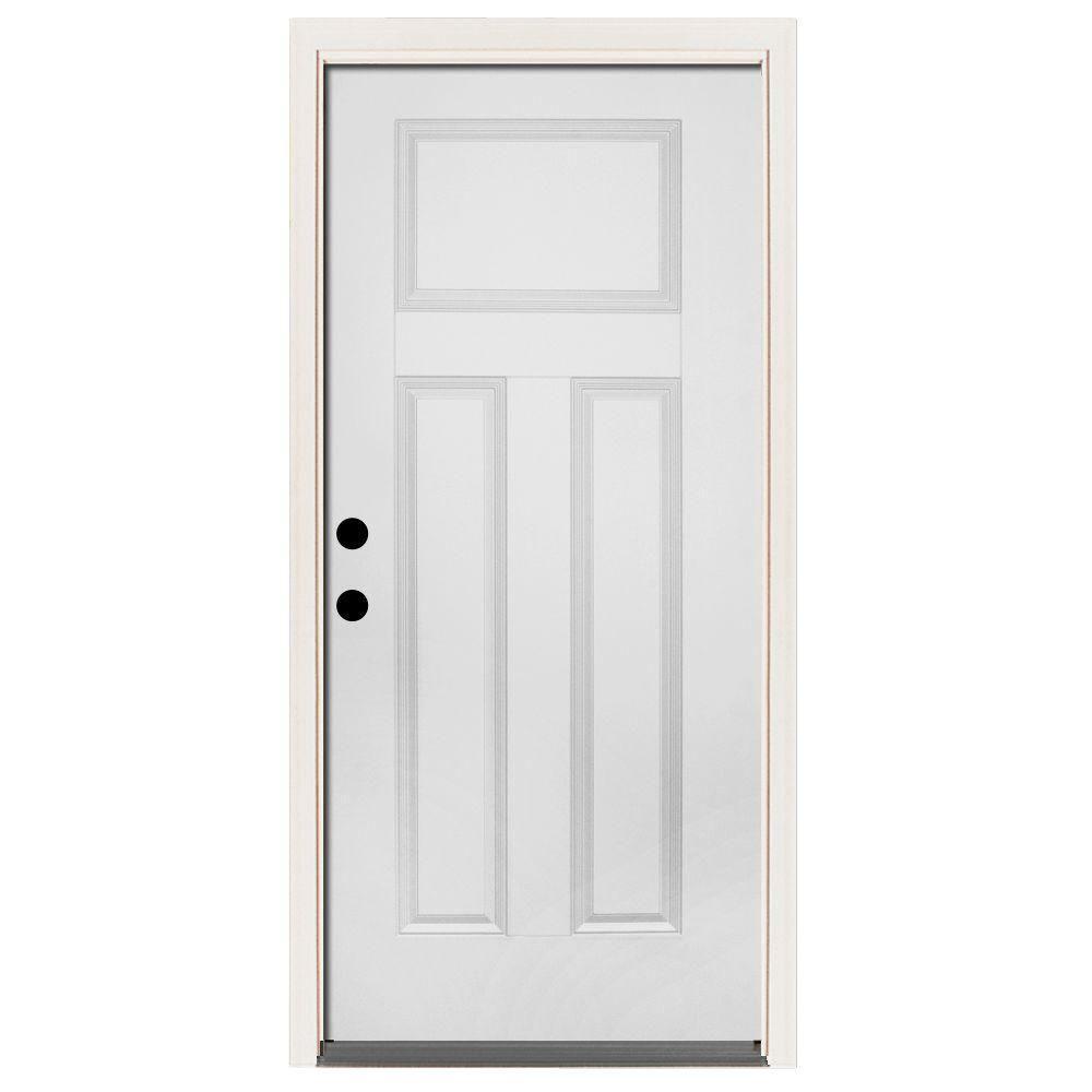 Home Depot Doors Exterior Steel: Steves & Sons 36 In. X 80 In. Premium 3-Panel Primed White