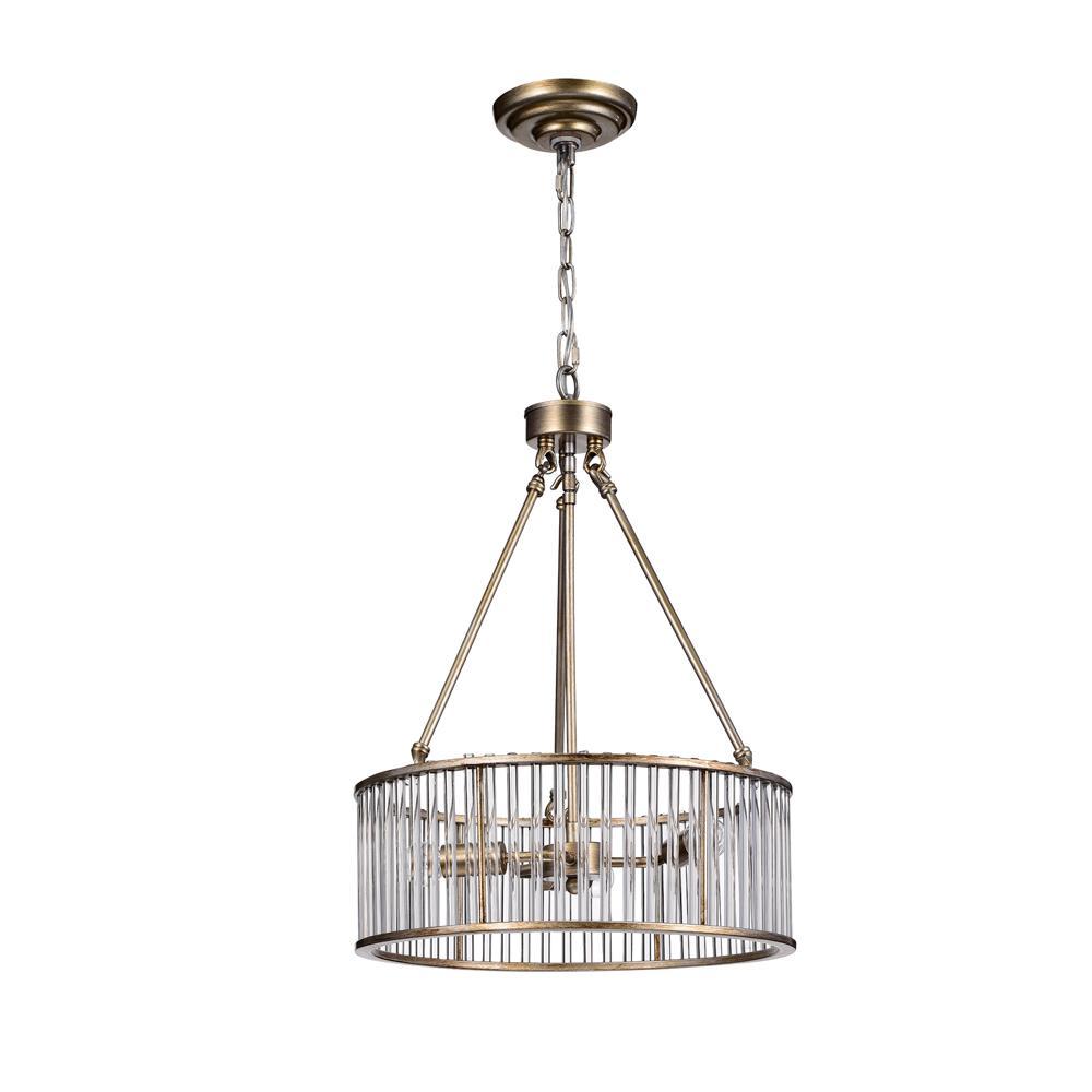 Warehouse Of Tiffany Tripsin 3-Light Antique Brass Glass