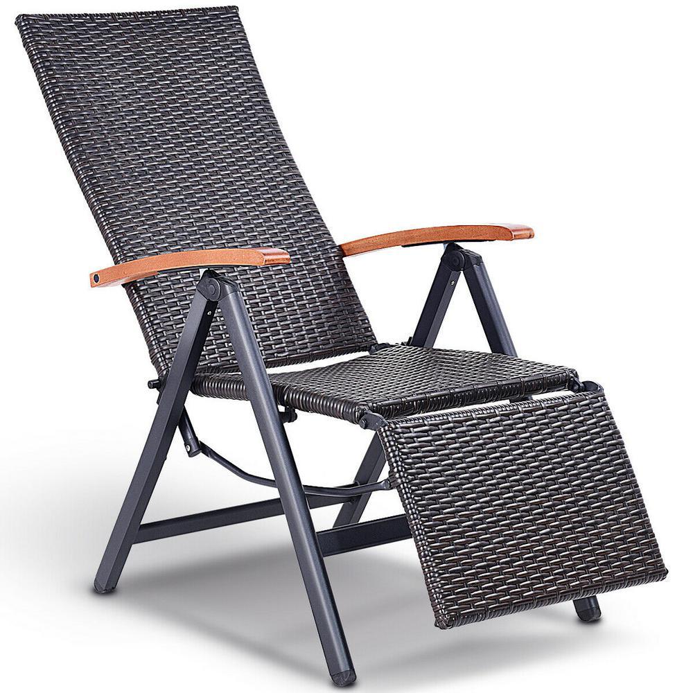 Costway Brown 1 Piece Folding Metal Aluminum Adjule Outdoor Chaise Lounge Rattan Garden Patio Recliner Chair