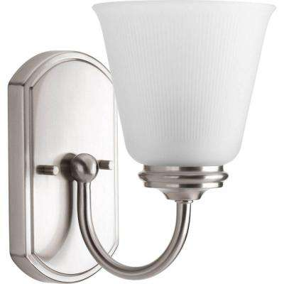 Keats Collection 1-Light Brushed Nickel Bath Sconce with Frosted Ribbed Glass Shade