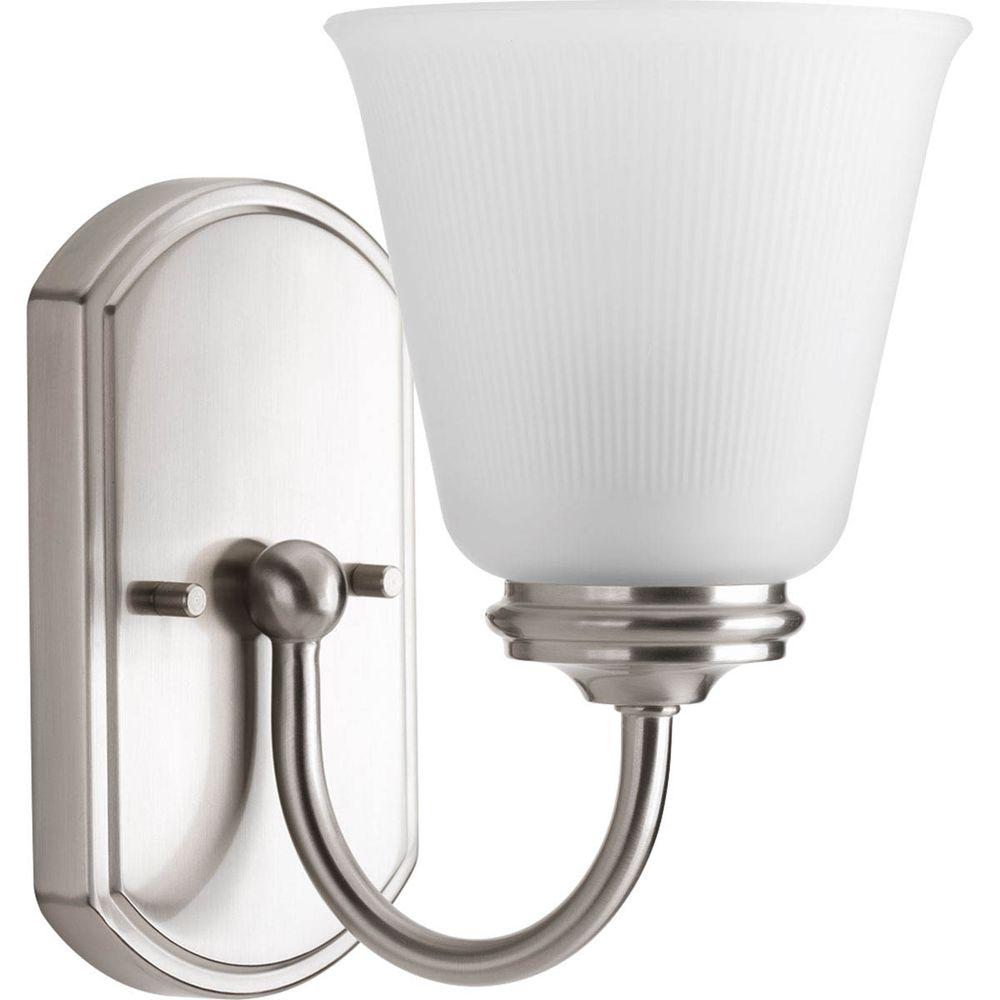 Progress Lighting Keats Collection 1 Light Brushed Nickel Bath Sconce With Frosted Ribbed Glass