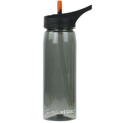 25 oz. Wave Tritan Plastic Bottle with Straw Top - Black Shadow