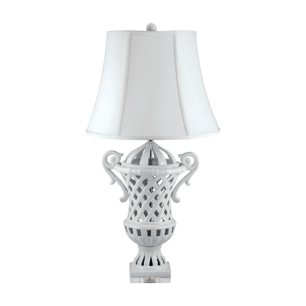 32 in. Lattice-Handled White Ceramic Urn Table Lamp