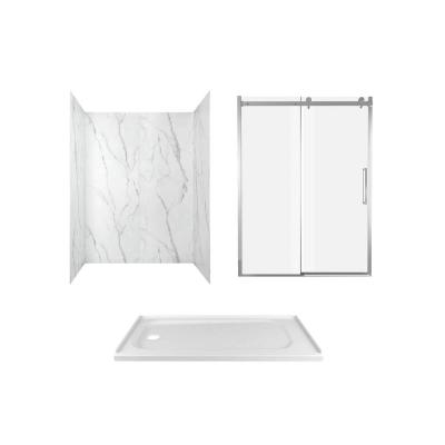 Passage 60 in. x 72 in. 3-Piece Glue-Up Alcove Shower Wall, Door and Base Kit with Left Hand Drain in Serene Marble