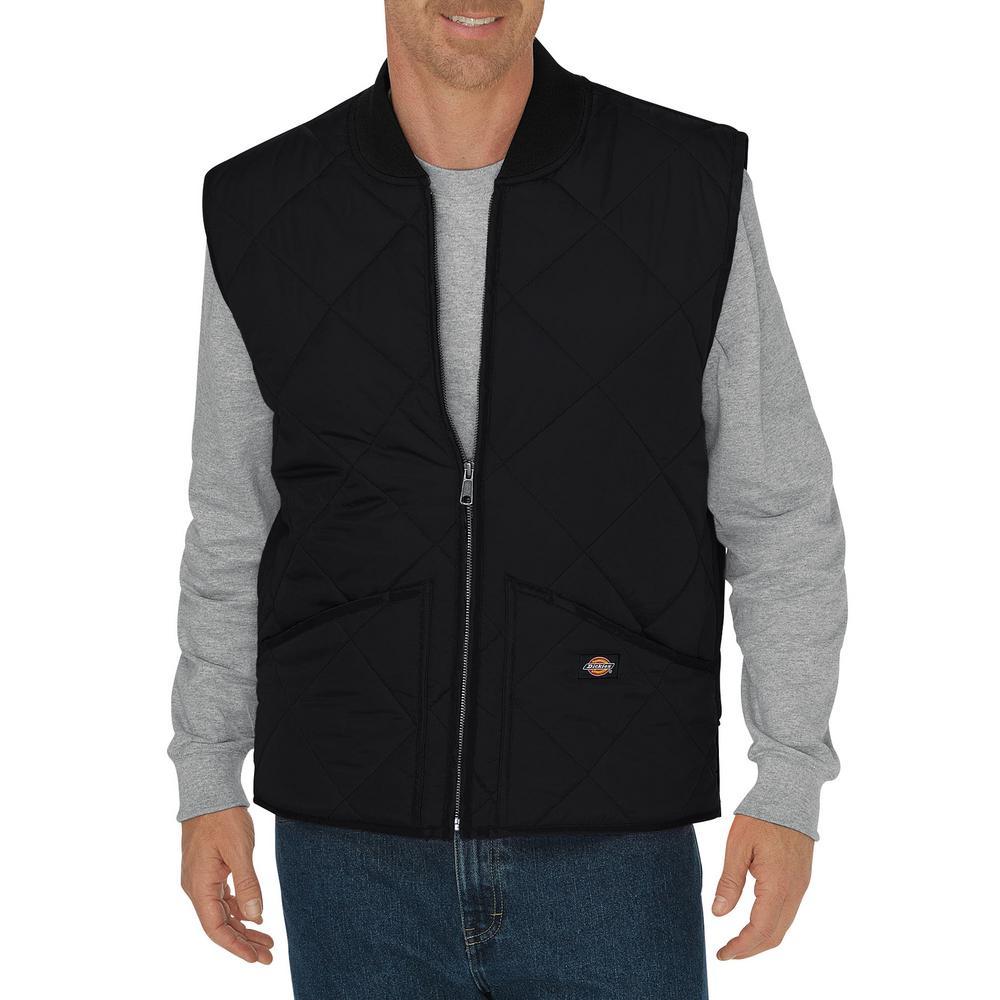Dickies Men 2x Large Diamond Quilted Black Nylon Vest Te242bk 2x
