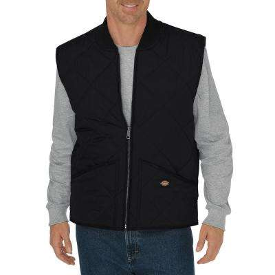 Men Large Diamond Quilted Black Nylon Vest